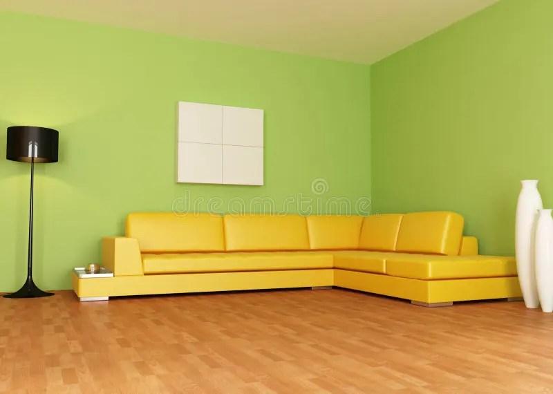 Groene en oranje woonkamer stock illustratie Illustratie