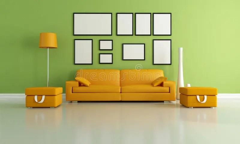 Rode en oranje woonkamer stock illustratie Illustratie