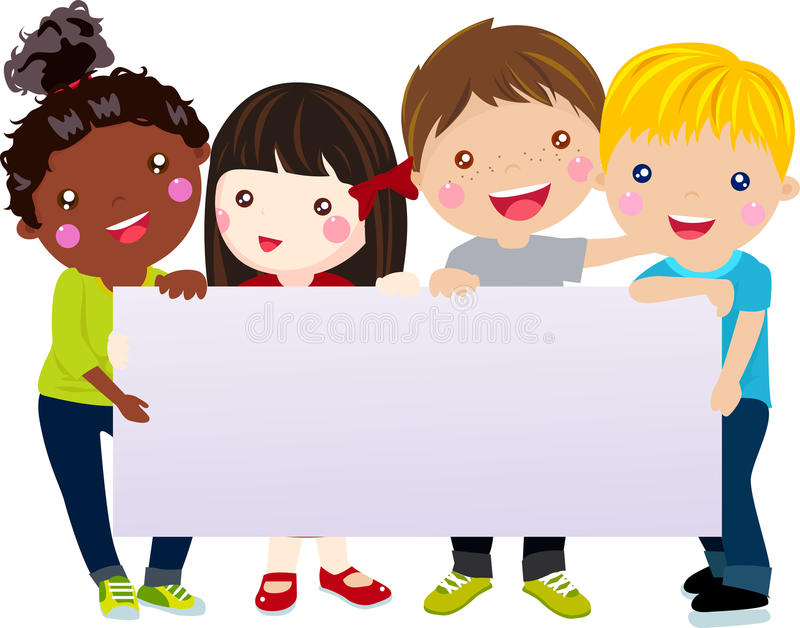 Group Of Kids And Banner Stock Vector Illustration Of