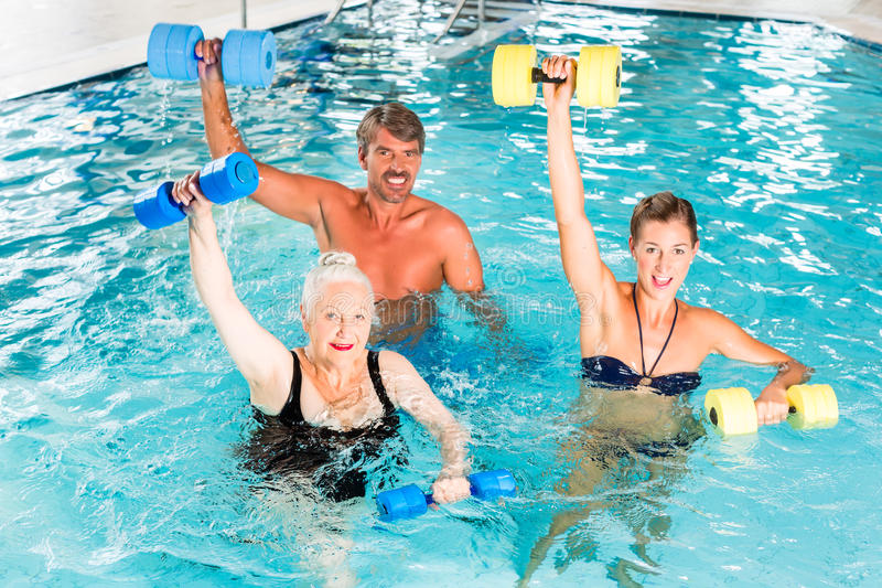 Group Of People At Water Gymnastics Or Aquarobics Stock Photo  Image of dumbbell gymnastics
