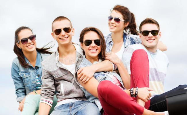 Group Of Teenagers Hanging Out Stock Image Image Of
