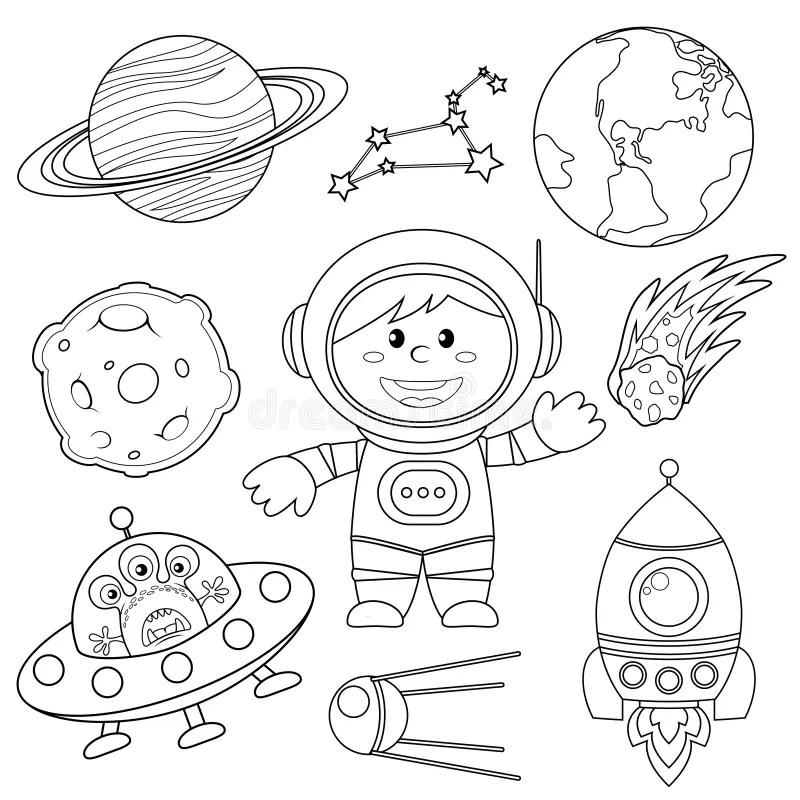 Grupo De Elementos Do Espaço Astronauta, Terra, Saturno