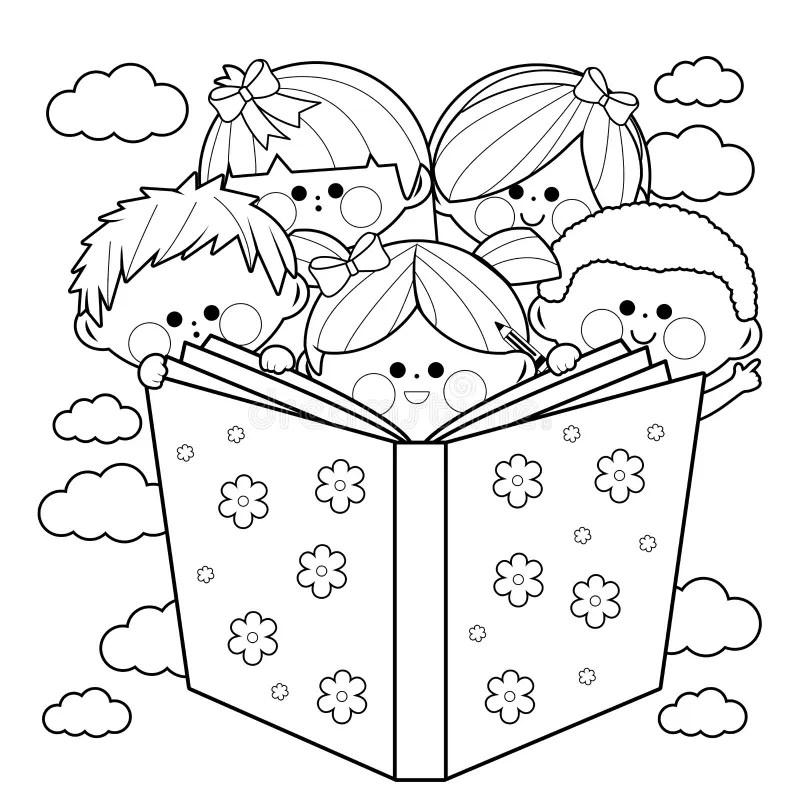 Gruppo Di Bambini Che Leggono Una Pagina Del Libro Da