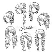 hair styles sketch vector set stock
