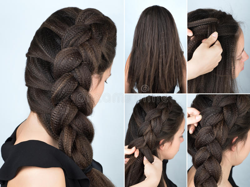 Hairstyle Braid To One Side Tutorial Stock Photo  Image