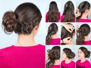 hairstyle bun and plait curly