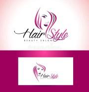 hairstyle salon logo design stock