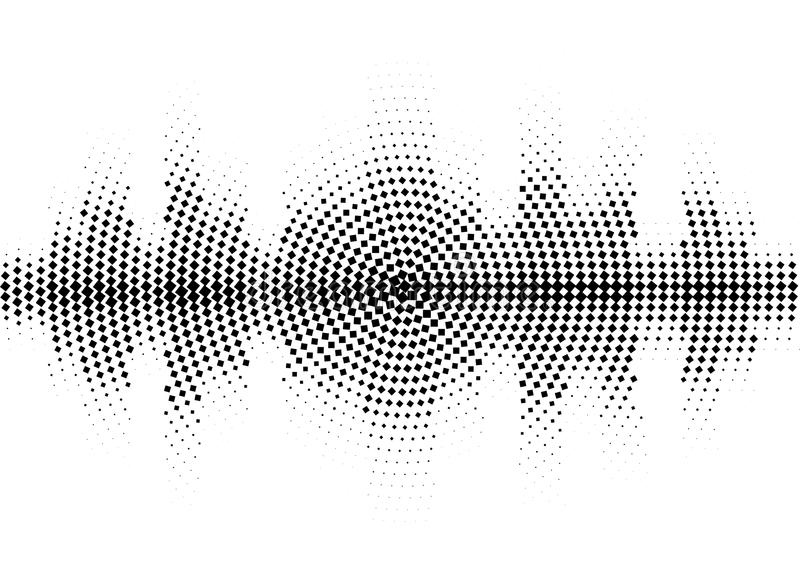 Halftone Sound Wave Black And White Pattern. Stock Vector