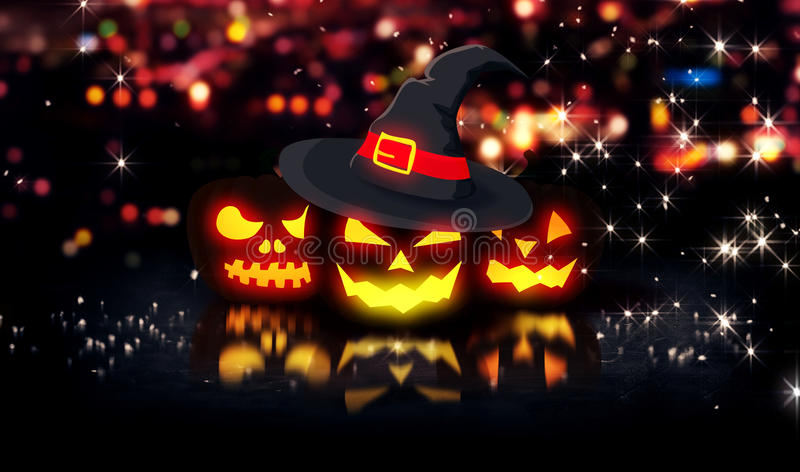 Spooky Fall Wallpaper Halloween Glowing Pumpkins Night City Bokeh Background 3d