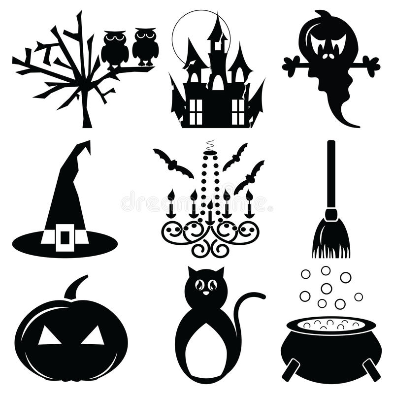 Halloween Icons Set 2 In Black & White Stock Vector