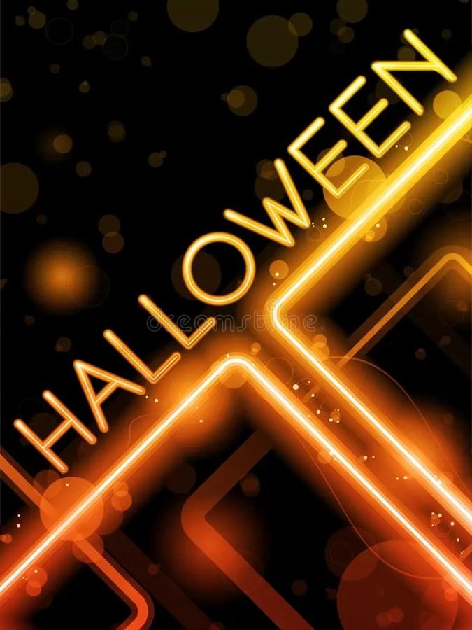 Creepy Fall Wallpaper Halloween Neon Party Background Stock Vector