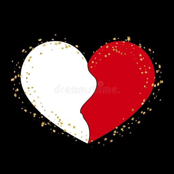 Halves Gold Heart Icon Golden Splash Stock Vector