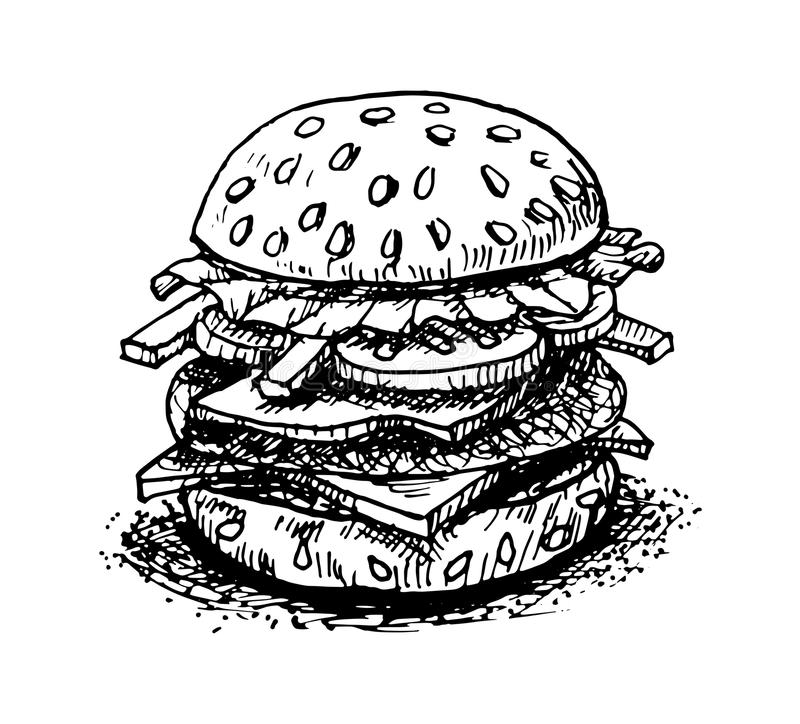 Hamburger Hand Drawing On White Background-Vector Stock