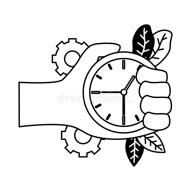 Time Clock With Calendar Isolated Icon Stock Vector