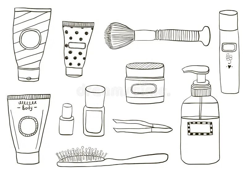 Simple Set Of Cosmetics Hand