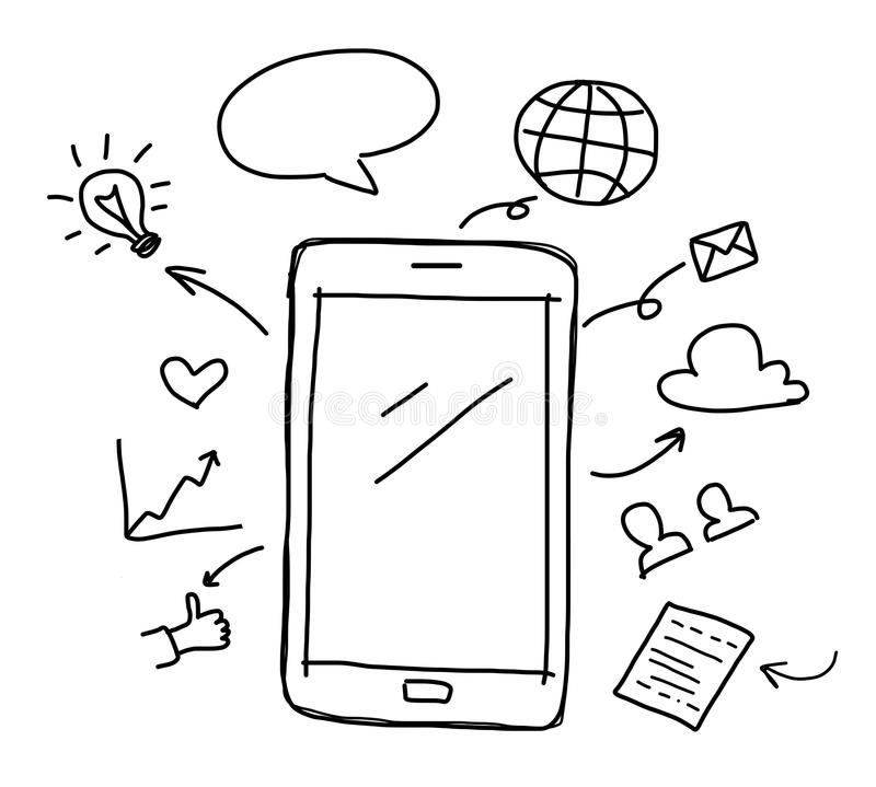 Hand Drawing Smart Phone With Social Media Royalty Free