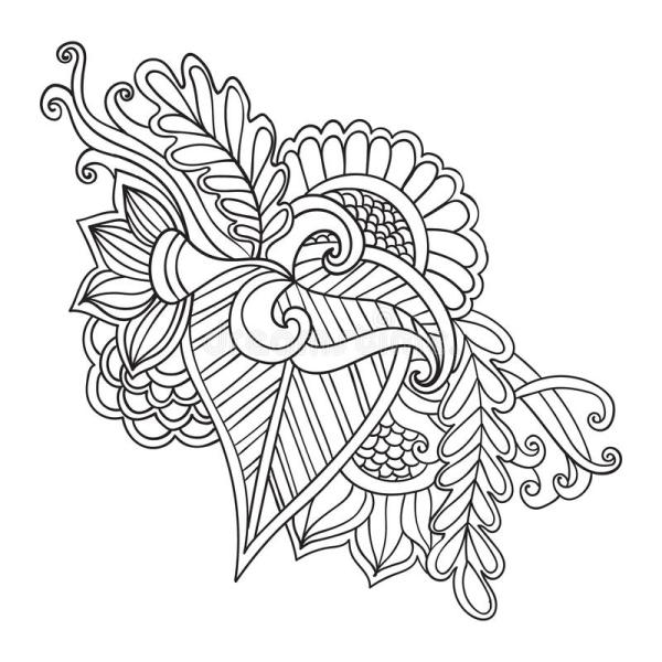 Hand Drawn Artistic Ethnic Ornamental Patterned Floral Frame In Doodle Zentangle Style Adult