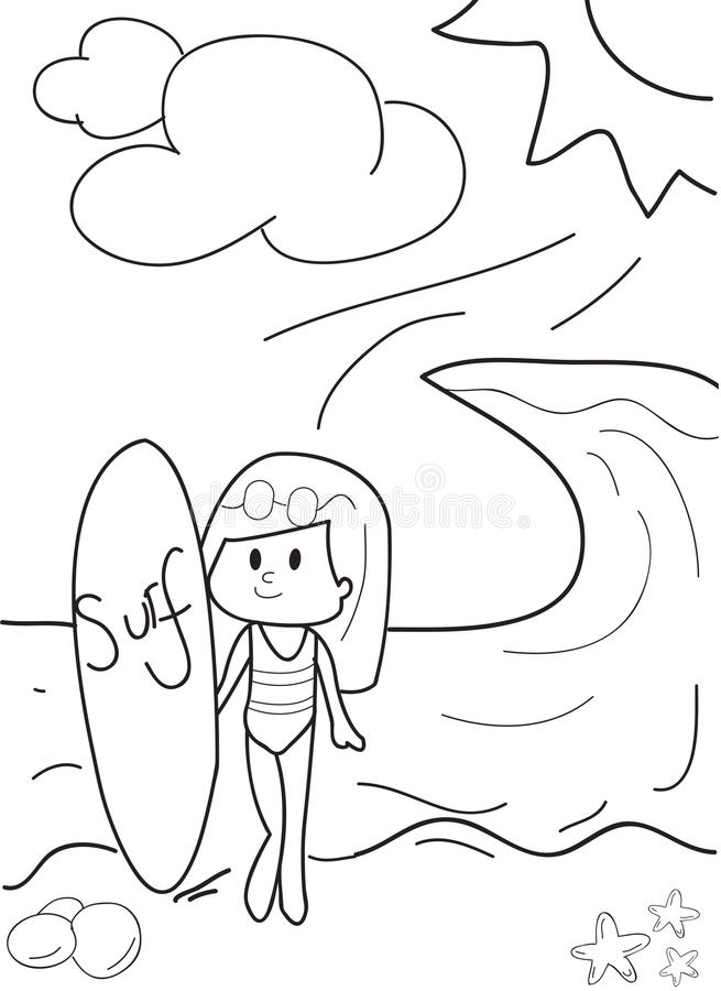 Hand Drawn Beach Girl Surfing Coloring Page Stock