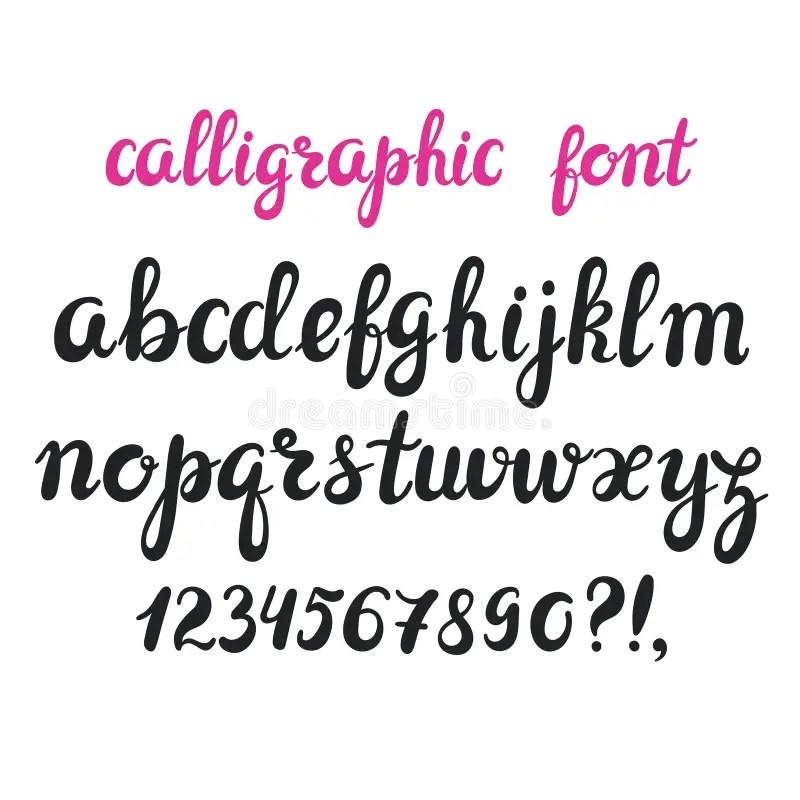 Hand Drawn Brush Pen Calligraphy Cursive Font. Stock