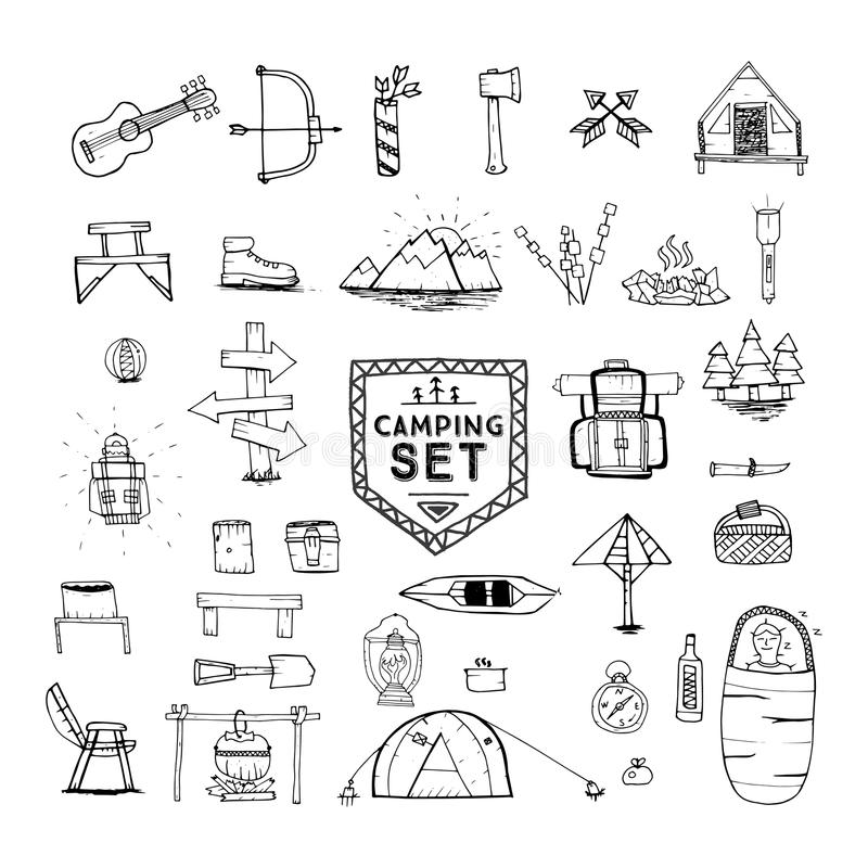 Hand Drawn Camping, Hiking Or Mountain Climbing Icons Set