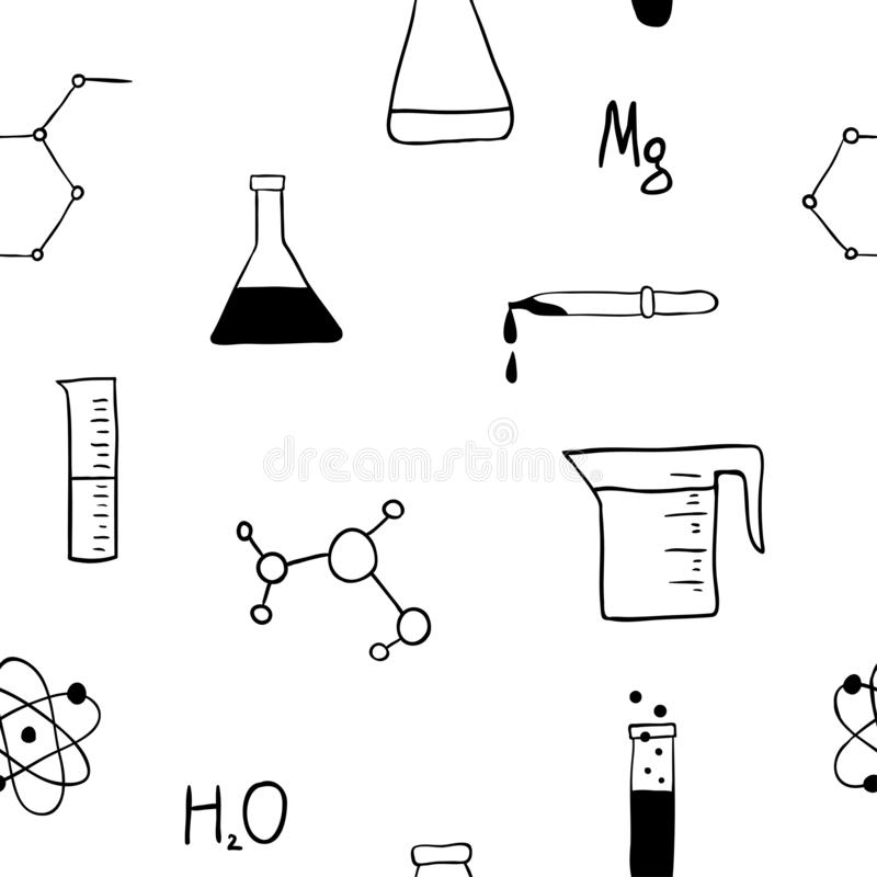 Chemistry Seamless Pattern With Formulas And Laboratory