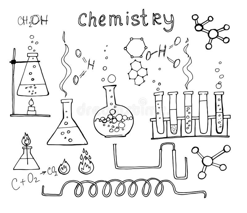 Hand drawn chemistry set stock vector. Illustration of