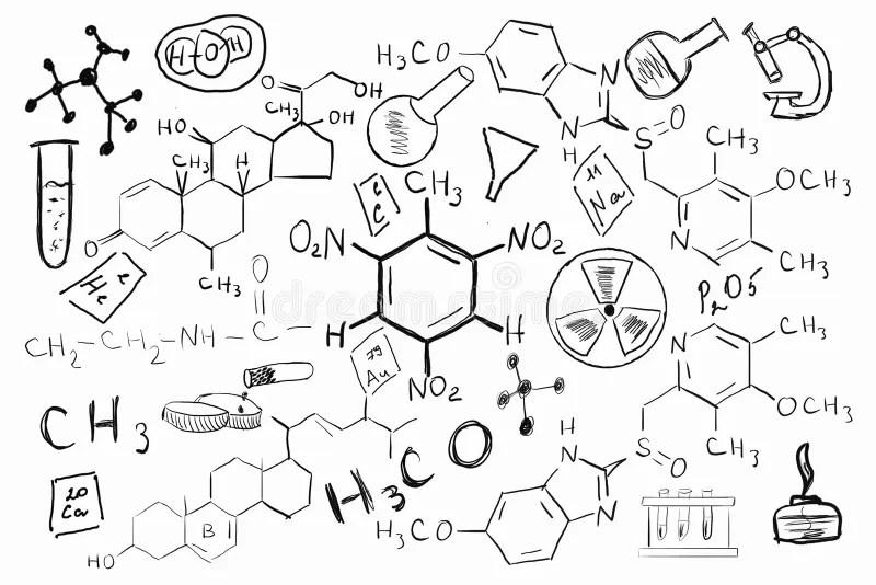 Hand drawn chemistry set stock image. Image of atom