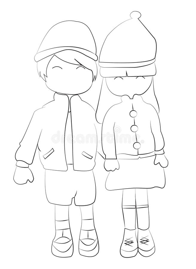 Girl And Boy Holding Hands Drawing : holding, hands, drawing, Drawn, Coloring, Holding, Hands, Stock, Illustration, Black,, Boyfriends:, 46706657