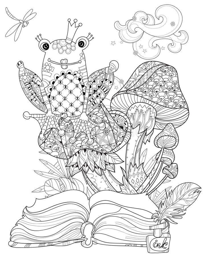 Cute Frog Prince In Crown With Lotus. Stock Vector