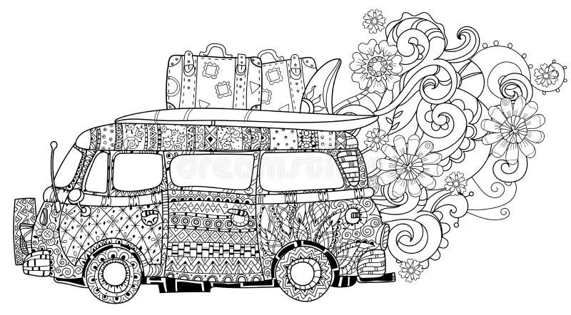 Bus Retro Volkswagen Stock Illustrations