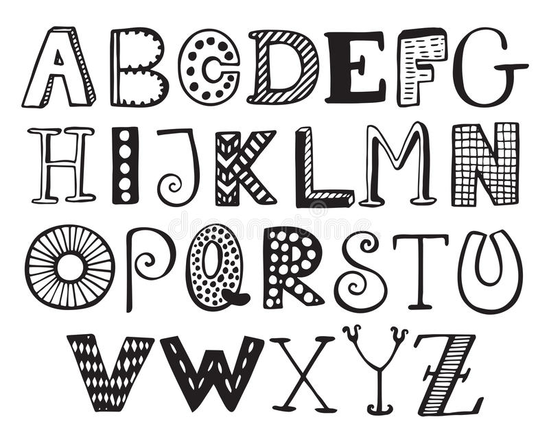 Hand Drawn Fancy Alphabet, Funny Doodle Letters Stock