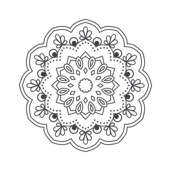 Hand Drawn Flower Mandala Coloring Book. Black And White Eth Stock Illustration
