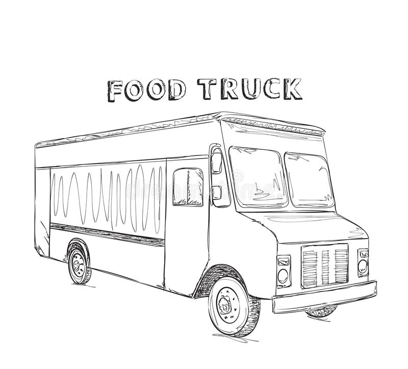 Hand drawn food truck. stock photo. Image of sketch