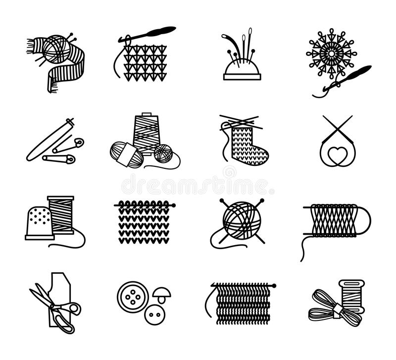 Hand Drawn Knitting Embroidering And Sewing Icons Stock Vector Illustration Of Black Embroidery 56404530