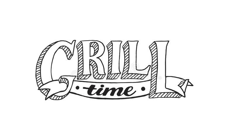 BBQ grill graphic text stock vector. Illustration of food