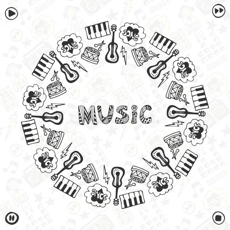 Hand Drawn Music Frame. Musical Sketch Icons . Template