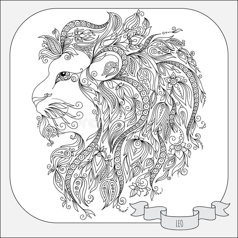 Hand Drawn Pattern For Coloring Book Zodiac Leo. Stock