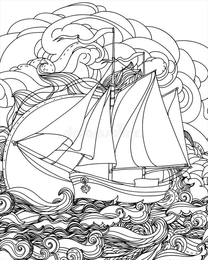 Hand Drawn Boat /Eps stock vector. Illustration of river
