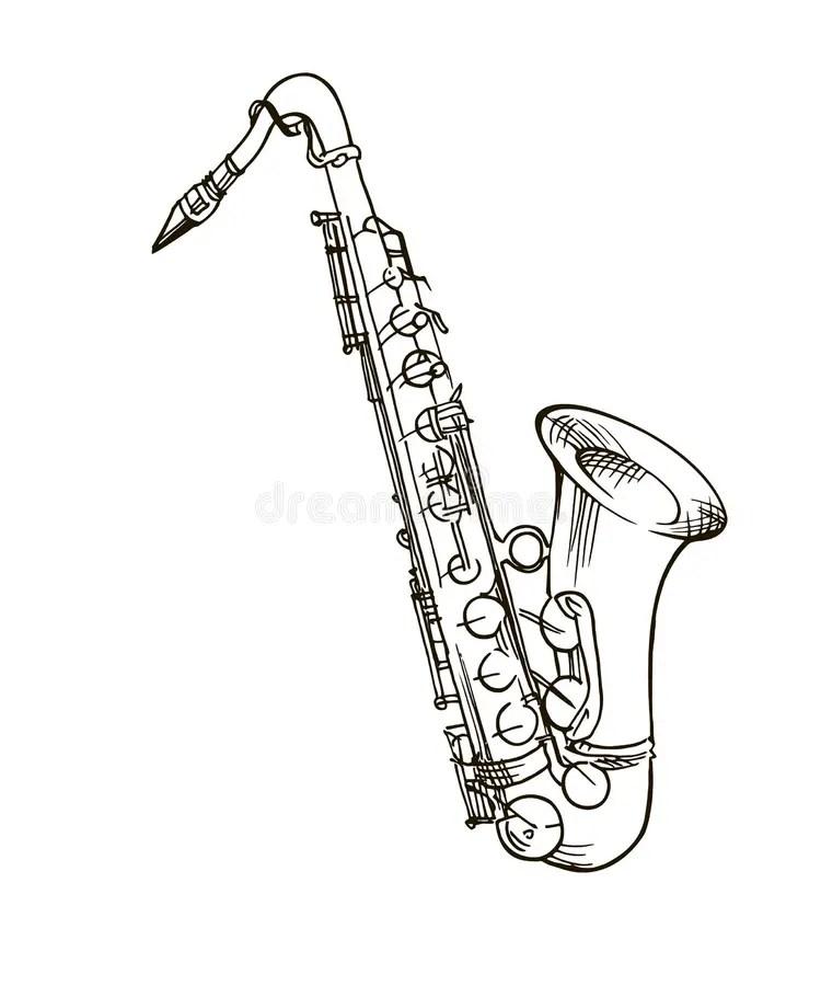 Hand drawn saxophone stock vector. Illustration of black