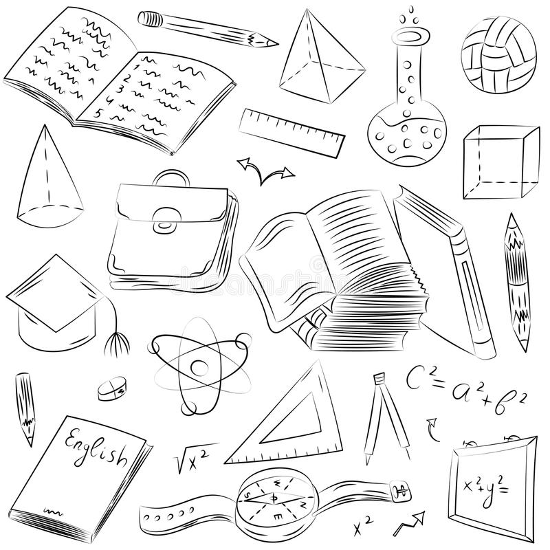 Physics Drawings In Heart Shape Stock Illustration