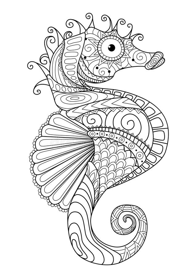 Hand Drawn Sea Horse Zentangle Style For Coloring Page,t