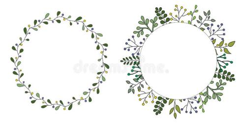 Hand Drawn Set Of Floral Vector Wreath With Green Leaves Herbs Forest Round Cute Rustic Frame Border Print Stock Vector Illustration of card leaf: 141642804