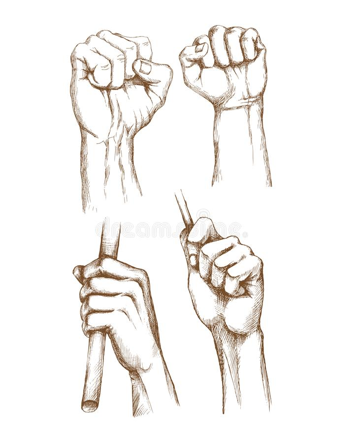 How To Draw Clenched Fist : clenched, Hand-drawn, Human, Hands., Engraving, Brushes,, Gestures,, Clenched, Banner, Advertising, Stock, Vector, Illustration, Collection,, Object:, 122456841