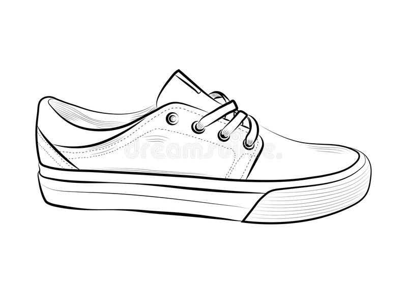 Hand Drawn Sketch Of Sport Shoes, Sneakers For Summer