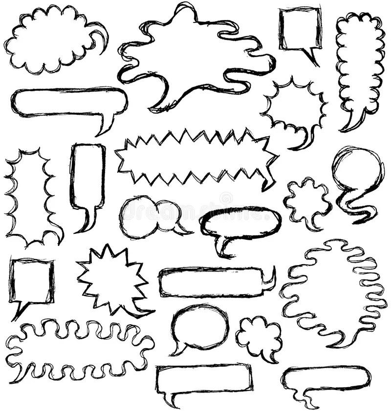 Hand Drawn Speech Bubbles Outline Stock Illustration