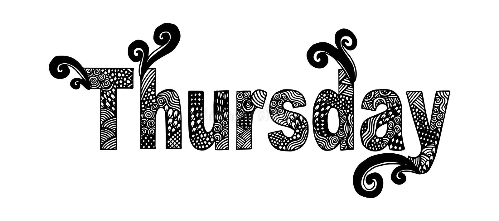 Hand Drawn Thursday Letters Isolated On Stylish Doodle