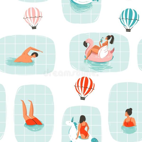 Summer Swimming Pool Fun Vector Illustration Stock