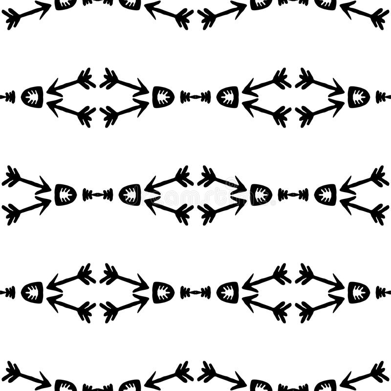 Vector Seamless Black And White Ethnic Pattern With Tribal