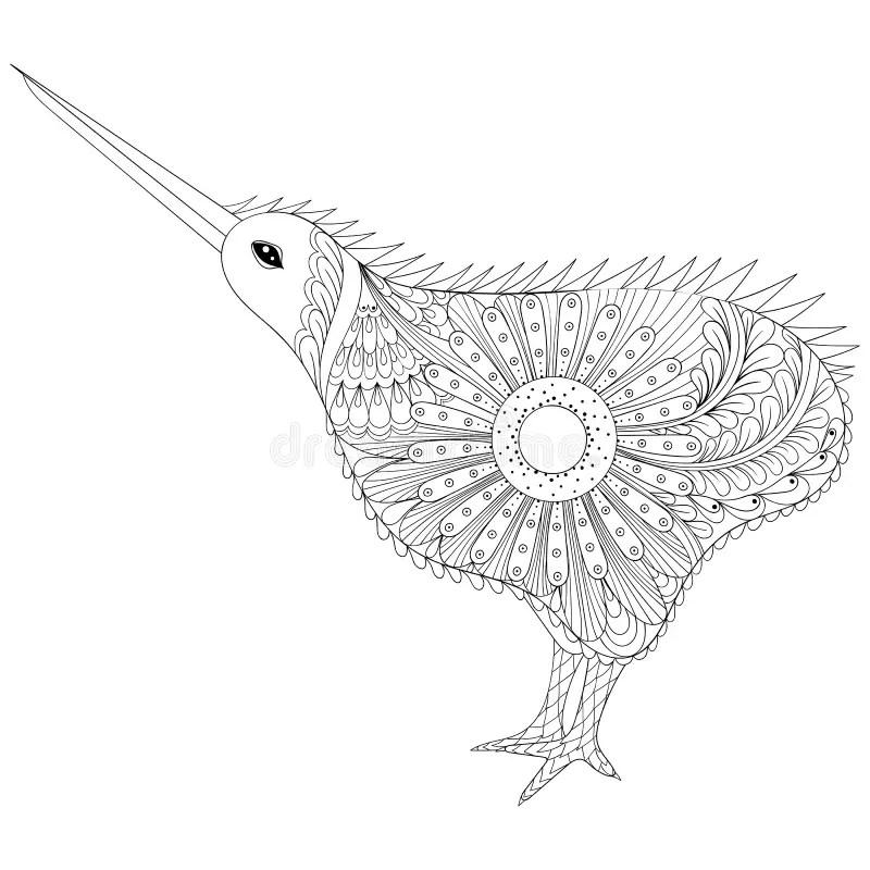 Hand Drawn Zentangle Tribal Kiwi Bird, Symbol Of New