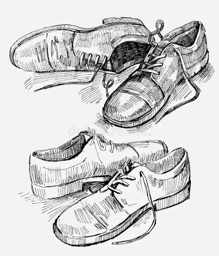 Hand Gezeichnete Abbildung Der Schuhe Vektor Abbildung